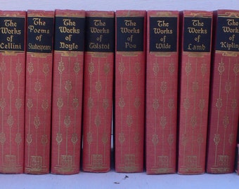 vintage books, Classic fiction,red and black book decor, set of 16, Black's Readers Services, library filler, from Diz Has Neat Stuff