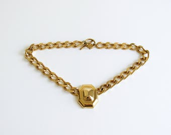 Vintage Anne Klein Chunky Gold Tone Choker Necklace with Octagon Geometric Pendant