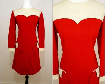 VINTAGE 1960s Red Pop Retro Mod Scooter Mini Dress UK 12 Fr 40 / Spaceage / Round Pocket/ Cute buttons