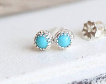 Turquoise Stud Earrings, Sterling Silver Stud Earrings, Birthstone Earrings, Turquoise Studs Silver and Blue Earrings, Gemstone Earrings