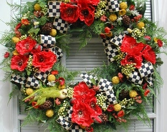 Elegant Summer Wreath Spring Silk Floral Decoration Front Door Yellow Red Poppies Black White Check Premium Luxe Ribbon Fireplace Grapevine