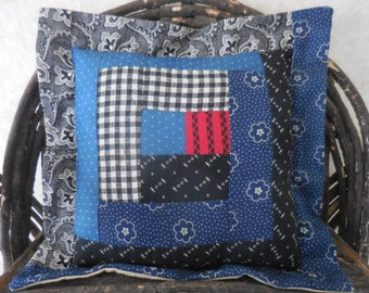 Primitive Vintage Log Cabin Quilt Block Recycled Mini Pillow Country Decor
