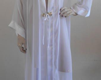 Vintage Sheer Chiffon Dressing Robe Peignoir Fredrick's of Hollywood