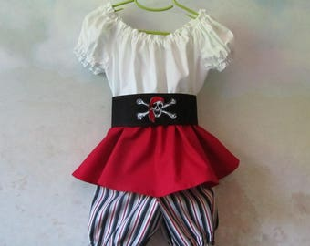 ON SALE - Girl's Pirate Long Top, Pantaloons, & Belt: Steampunk, Peasant - Size 4/5, All Cotton Fabric, Ready To Ship Now