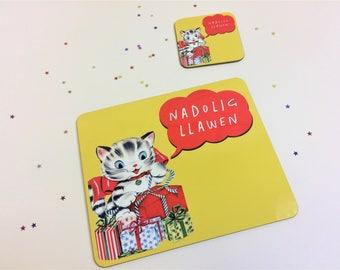 Kids Welsh Christmas Table Mat Nadolig Llawen Retro Cat Unisex Melamine Placemat and Coaster Set Yellow
