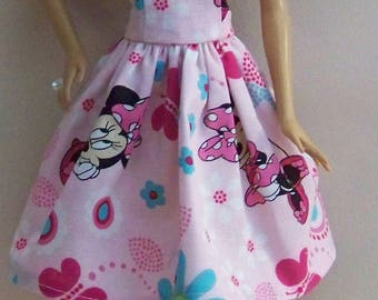 Handmade Barbie Clothes-Pink Minnie Mouse Print Barbie Dress