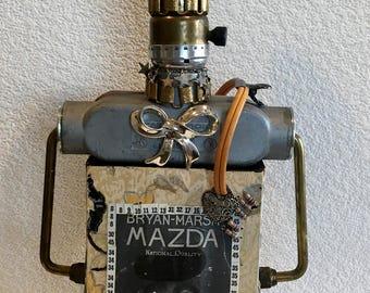 Steampunk, Grunge Art Doll, Outsider Art, Raw Creation, Wattage,Knights Electric, Renewable Resource, Found Item Art Doll,Glasgow MT, Unique