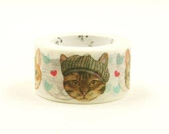 Love Cat 06 - Japanese Washi Masking Tape - 20mm Wide - 7.6 Yard