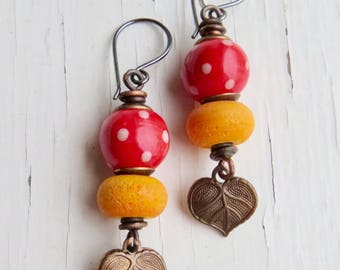 Sunny Days - unique artisan bead earrings in pillarbox red and sunny yellow with artisan glass and ceramics - Songbead UK, narrative jewelry