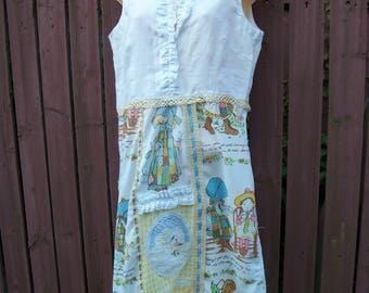 Holly Hobbie Dress-Upcycled Patchwork Sundress-Yellow and White-Junk Gypsy-Cowgirl Chic-Size Small-Medium