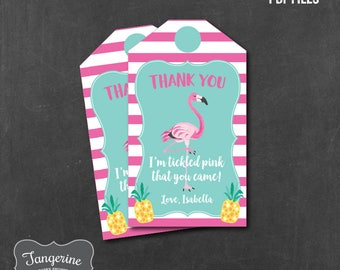 Flamingo Pineapple Favor Tag, Flamingo Thank You Tags, Personalized, Printable PDF File