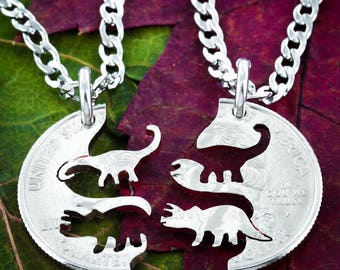 Dinosaur Relationship Necklace, Triceratops and Brontosaurus, Best Friends Necklaces, Hand Cut on a Quarter