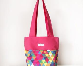 Women's Handbag / Shoulder Tote Bag with Front Pocket and Zip in Pink Hexagon Rainbow