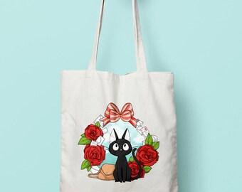 Jiji from Kiki's delivery service Ghibli kawaii organic cotton tote bag