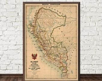 Antique map peru etsy peru map old map of peru giclee map print gumiabroncs Gallery