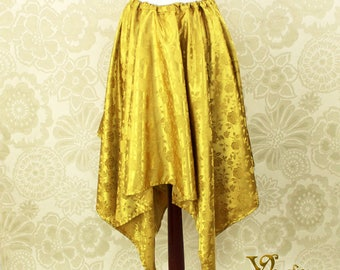 "Steampunk Fairy Gold Rose Brocade Pointed Petal Skirt -- 4 Points, 35"" Point Length -- Fits up to 38"" Waist, Ready to Ship!"