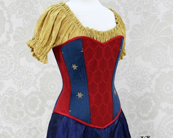 "Wonder Woman Inspired Sweetheart Overbust Corset - Solid Front, Red, Blue, & Gold - Corset Size 29, Best Fits Waist 32""-34"" - Ready to Ship"