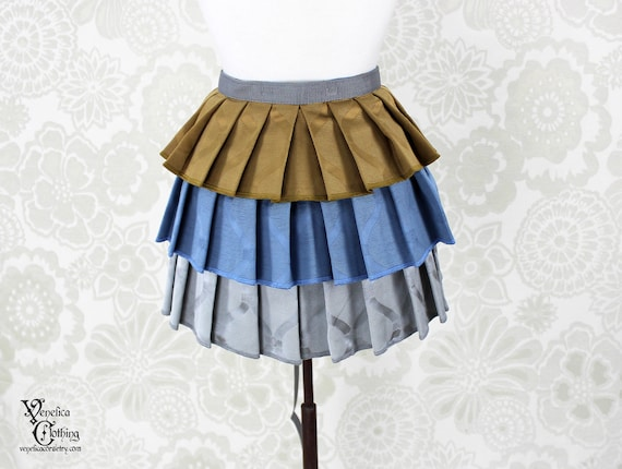 "Steampunk Ruffle Bustle Overskirt - Blue, Gold, & Silver - 3 Layer, Sz. S - Fits up to 45"" Waist/Upper Hip -- Ready to Ship"