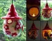 felted fairy house, toadstool house, mushroom, tea light holder, led lights, handmade, waldorf inspired, window ornament, lighting, lamp