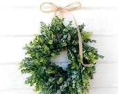 Frosted Eucalyptus Wreath-MINI Window Wreath-Farmhouse Decor-Country Cottage Wreath-Artifical Eucalyptus Wreath-Wall Decor-Small Wreath-Gift