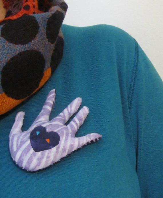 Heart In Hand Brooch ~ Fabric Hamsa Pin ~ Ready to Ship