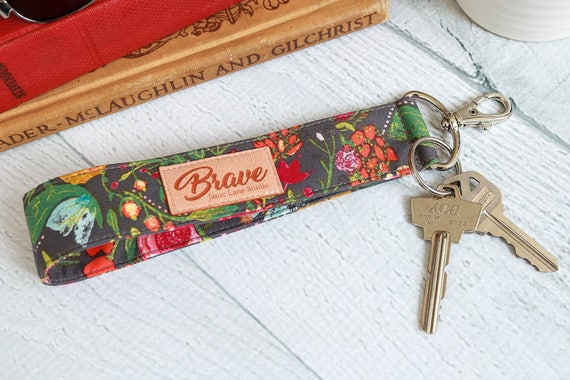 Gray Floral Key Lanyard | Wrist Strap Key Chain with Pink, Orange, Green and Blue Flowers on a  Gray Background