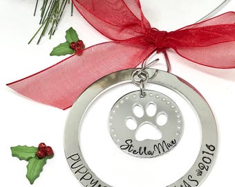 Puppy's First Christmas Ornament - Pets First Christmas Gift - Gifts for Pets - Pet Lovers Gift Ideas - The Charmed Wife - Christmas Gifts
