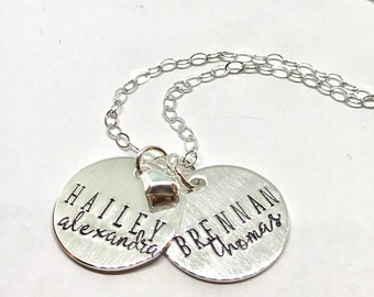 Kids Name Necklace - Lettering Style Jewelry - Christmas Gift for Her - Gift Idea for Mom- The Charmed Wife - Engraved Jewelry - Handstamped