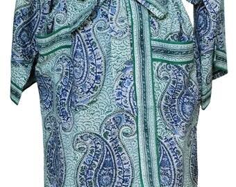 Long Kimono - Russian Paisley Green - free size