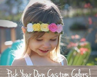 Felt Floral Crown,Custom Color,Make Your Own,Rose Headband,Baby Floral Headband,Halo Headband,Garland Headband,Felt Flower Headband