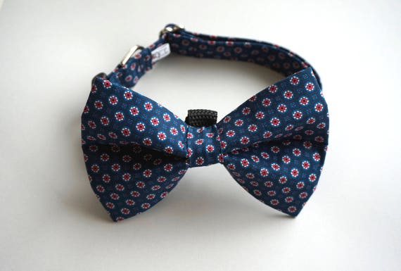Navy Foulard Formal Dog Bow Tie and Collar