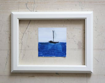 Small Seascape with a little boat - Original Abstract Painting - Blue - Ocean - Waters