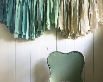 Mini Eventide Garland. Boys Decor. Torn Fabric Banner. Nursery Decor. Childs Bedroom. Neutral Decor. Boys Room Wall Art. Fabric Garland.