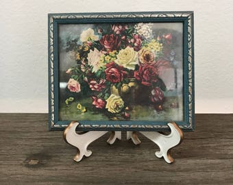 Small minature vintage still life rose floral print artwork with blue frame
