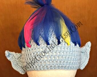 Crochet Harper Troll Hat, Size Newborn, 3 Month, 6 Month, 1 year, 2T, 3T, 4T, 5T, Adult, Teen, Child, Toddler, Trolls Costume, Tulle Wig Hat