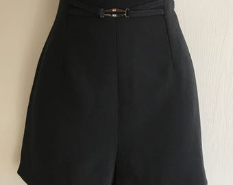 "Vintage Black Dressy short Shorts Skorts 28"" Waist High Waist Fully Lined Size Small"