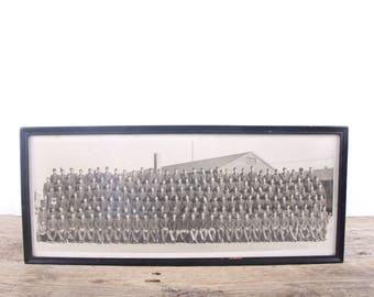 Vintage Military Army Photo / Antique Framed Black and White Yard Long Photo / Antique Photography / Antique Photo / Military Decor