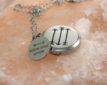 Arrows Essential Oil Diffuser Necklace - Arrows Aromatherapy Necklace - Stainless Steel Diffuser - Arrows Necklace - Follow Your Arrow