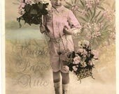 Cute Boy in Pink Short Pants Suit Antique French Photo Postcard Post Card from Vintage Paper Attic