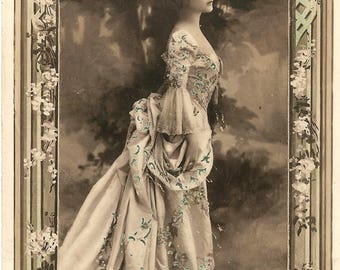Beautiful Marie Antoinette Style Woman Lina Cavalieri Antique French Photo Postcard, Tinted Photo Post Card from Vintage Paper Attic
