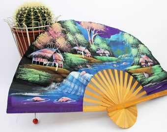 Large Hand Painted Decorative Bamboo Fan