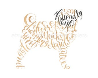 Puggle Decorations Memorial Dog Calligraphy Puggle Portrait Puggle Art Puggle Decorations Puggle Gift Pug Dog Puggle Dog Fawn Pug dog Lovers