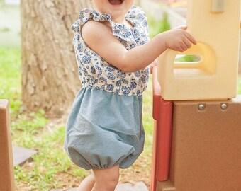 Whitney's Baby Ruffle Neck Romper PDF Pattern size newborn to 18/24 mos