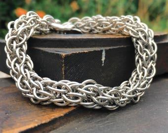 Chainmaille Bracelet, Handmade Steel Bracelet, Unisex Bracelet, Stainless Steel Woven Bracelet with Shackle Clasp, CCC Chainmail Bracelet