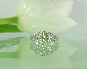 Three Gemstone Ring, chrysoberyl ring, Beryl Ring, Three Stone RIng, Custom Gemstone Ring, Gemstone Halo Ring, Gemstone Ring, Halo Ring