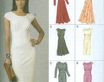 Vogue Pattern V8685 Women's Fitted Bodice Dresses NEW Size EE 14-20
