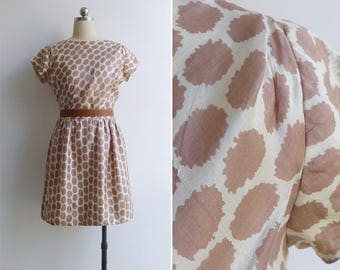 15% SALE (Code In Shop) - Vintage 60's Giraffe Spot Print Silk Shift Dress S or M
