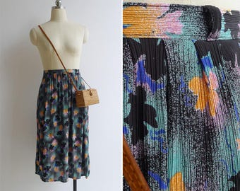 10-25% OFF Code In Shop - Vintage 80's 'Airbrush Graffiti' Floral Print High Waist Skirt S