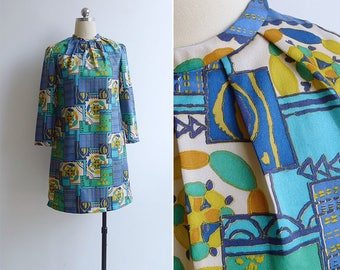 10-25% OFF Code In Shop - Vintage 60's 'Kaleidoscope' Tile Print Mod Shift Dress XS or S