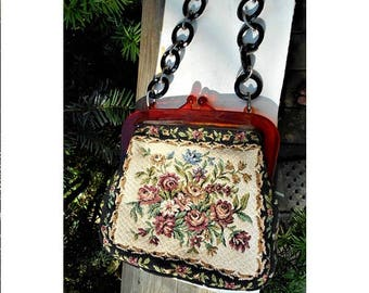 1950s  Embroidered  Floral Tapestry  w/ Celluloid Frame, Chain Link Handle. Gorgeous 2-Sided, Neat & Clean 64 Years Old Only 69.90